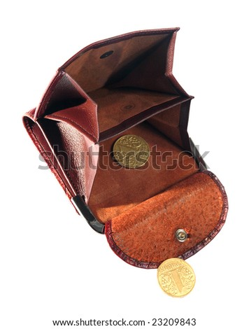 Empty purse, last coins, change on a white background