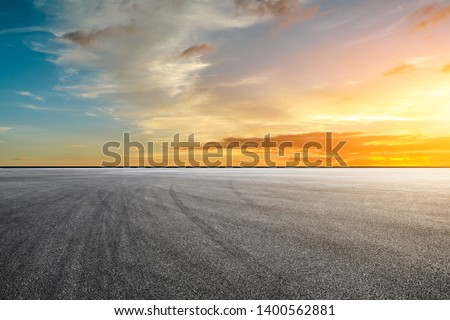 Empty race track and sky nature landscape at sunrise