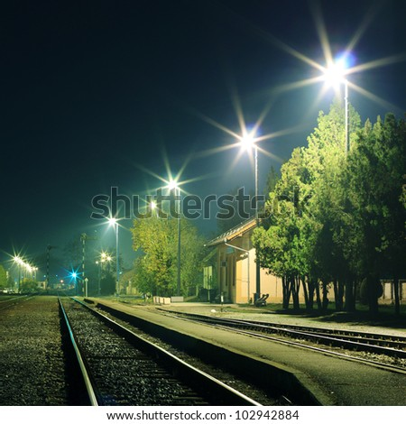 Empty railroad at night
