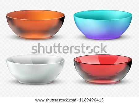 Empty realistic food bowls. Plastic, glass and porcelain kitchen dishware set. Bowl for food, glass dishware empty collection