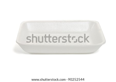 Empty rectangle shape Styrofoam food tray isolated on white background