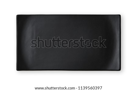 Empty rectangular plate, Black ceramics plate, View from above isolated on white background with clipping path