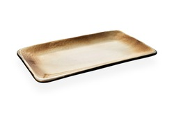 Empty rectangular plate, Brown ceramics plate, Bakery plate isolated on white background with clipping path, Side view