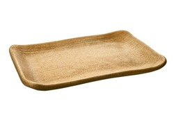 Empty rectangular plate in natural wood texture isolated on white background with clipping path, Side view