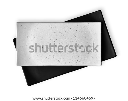 Empty rectangular plates, White and black ceramics plates, View from above isolated on white background with clipping path