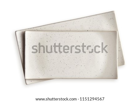 Empty rectangular plates, White ceramics plates, View from above isolated on white background with clipping path