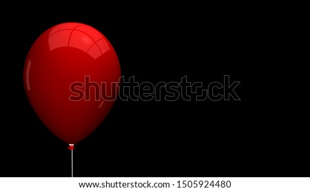 Empty Red Balloon With Light Reflections - Isolated On Black Background
