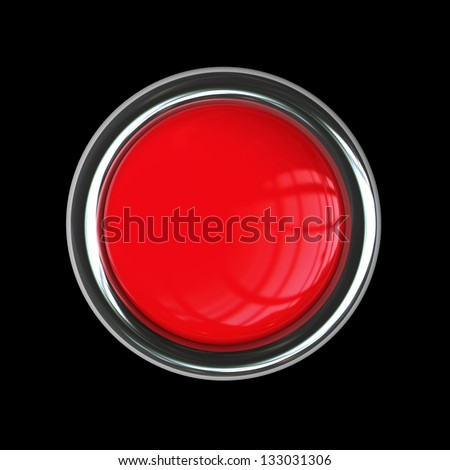 Empty red button isolated on black background. High resolution 3d render