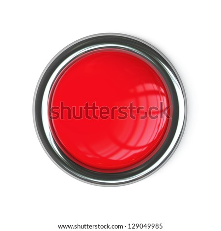 Empty red button isolated on white background. High resolution 3d render