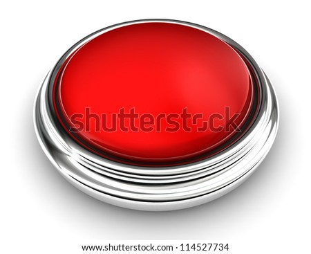 empty red button on white background. clipping path included