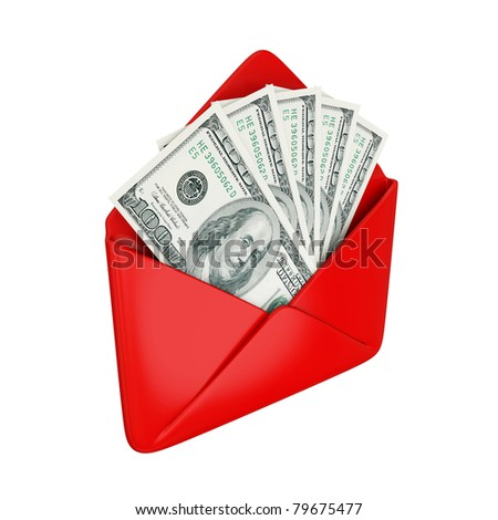 Empty red cover with dollars inside. Isolated on white background. 3d rendered.