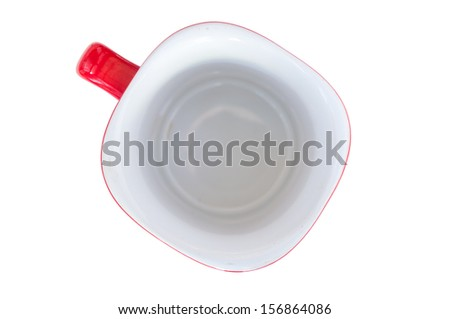 Empty red cup on a white background
