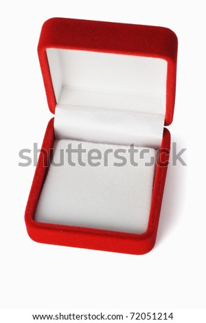 Empty red jewelry box with copy space on white background