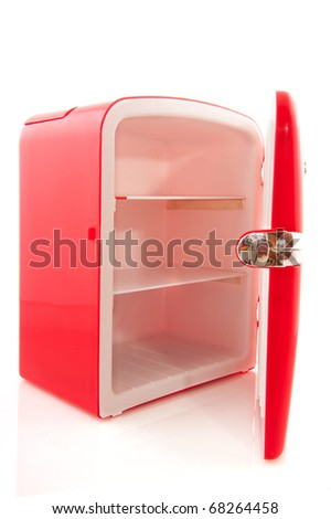 empty red open refrigerator isolated over white background