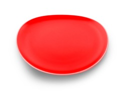 empty red plate on white background