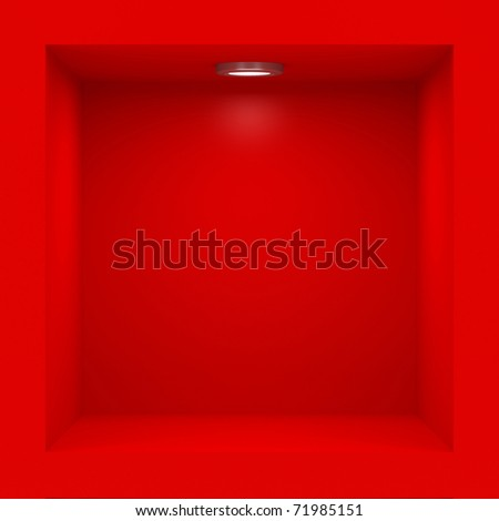 Empty red rack with illumination of shelves