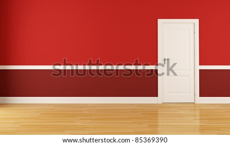 Empty red room with closed white door-rendering