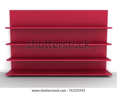 Empty red shelf - stock photo