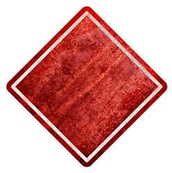 Empty red Sign, attention and alert sign. Worn and corroded metal. Street signboard. Texture. Corrosion. Oxidized. City
