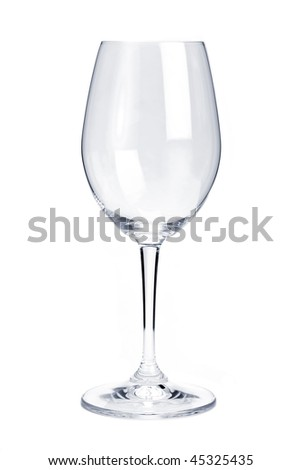 Empty red wine glass isolated on white background