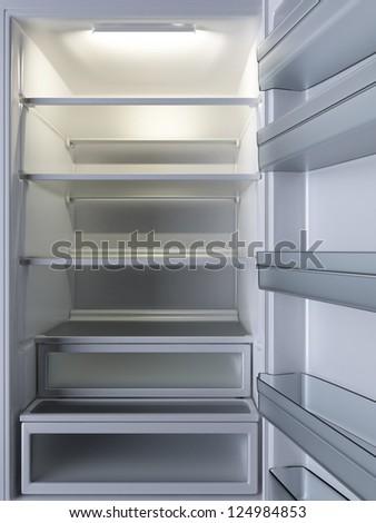 Empty Refrigerator. Open door. 3d rendered image.