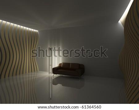 Empty relaxation dark room in minimalist style
