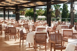 empty restaurant in the hotel is all inclusive in Turkey