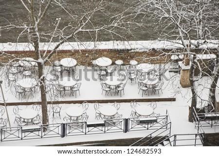 Empty restaurant in winter - stock photo