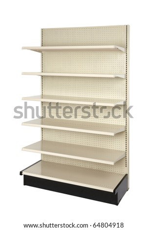 Empty retail store shelf shot in studio and silhouetted