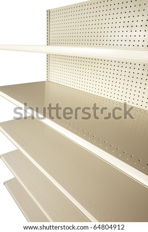 Empty retail store shelves shot at extreme angle in studio and silhouetted on white