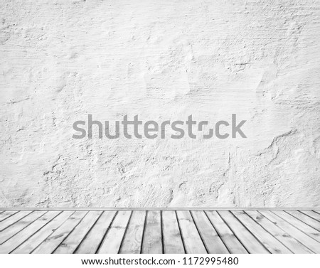 Empty retro room with cement wall and wooden floor. Closeup