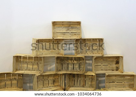Empty Retro Wooden Crates for Agriculture #1034064736