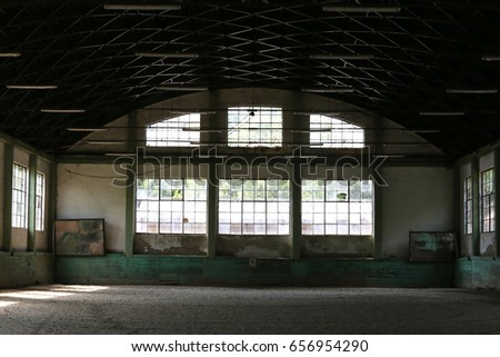 Empty riding arena is suitable for dressage horses #656954290