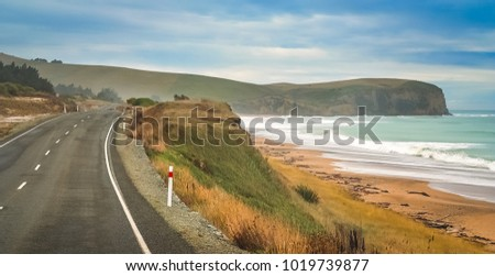 Empty road along New Zealand coast on the southern island