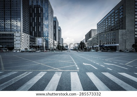 empty road and modern office buildings #285573332