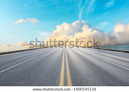 Empty road and sky nature landscape #1400545136