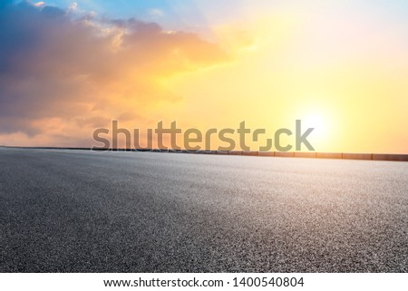 Empty road and sky nature landscape at sunrise #1400540804