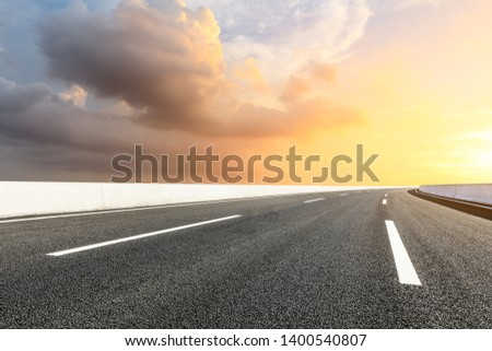 Empty road and sky nature landscape at sunrise #1400540807