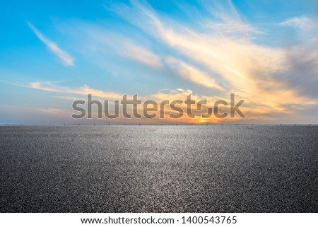 Empty road and sky nature landscape at sunrise #1400543765