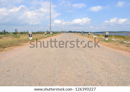 Empty road in Nakhon Ratchasima Province,Thailand. - stock photo