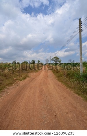 Empty road in Nakhon Ratchasima Province,Thailand.