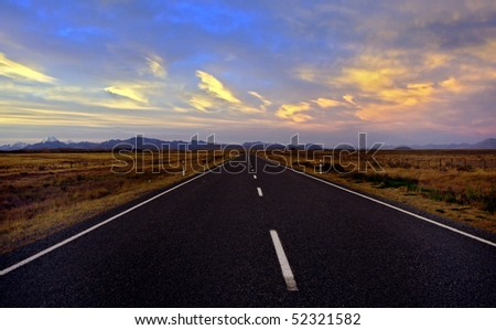 Empty Road in New Zealand