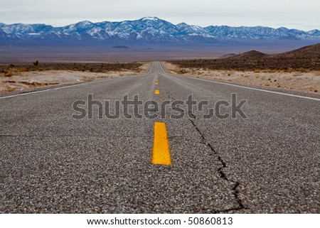 Empty road on Extraterrestrial highway, Nevada, USA