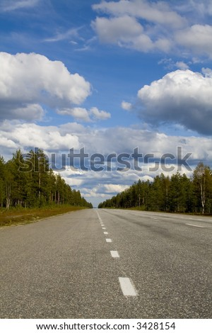 empty road scenery with a blue horizont