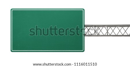 Empty road sign isolated on white background