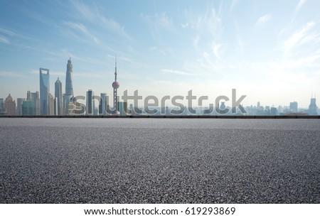 Empty road textured floor with Aerial photography bird-eye view at Shanghai bund Skyline  #619293869
