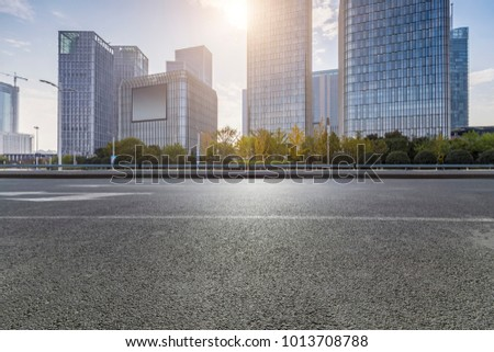 Empty Road with modern business office building