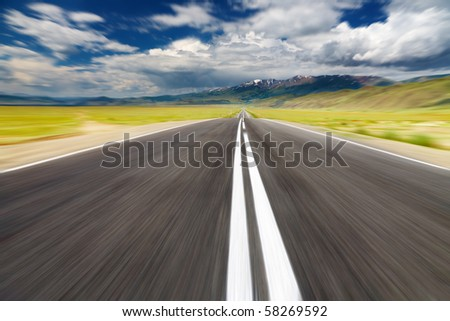 Empty road with motion blur