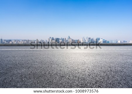 empty road with panoramic cityscape in shanghai #1008973576