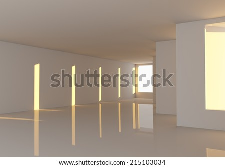 Empty room abstract wall and windows decorated reflection floors with the sun shines into the room.